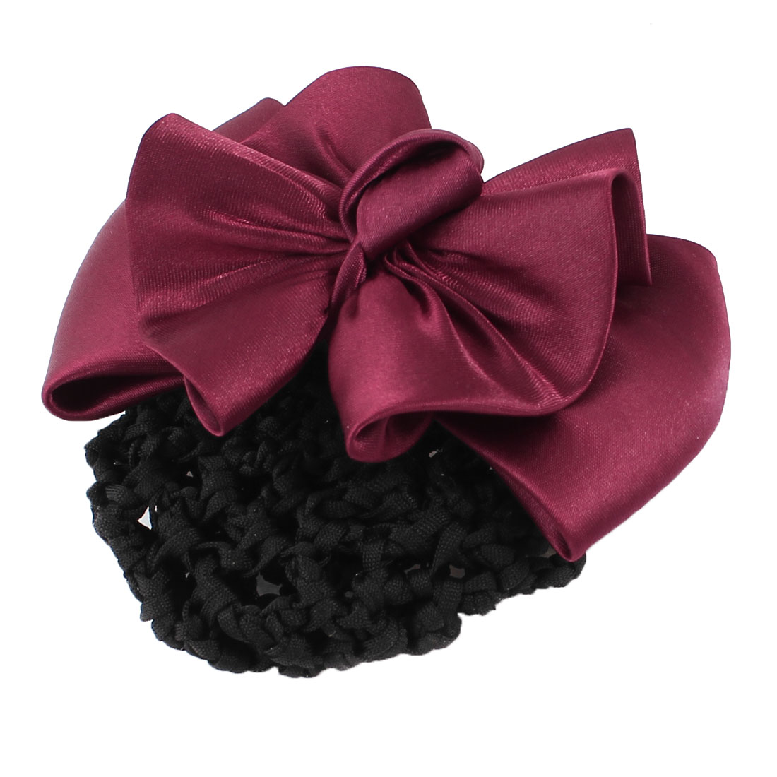 Ladies Bowtie Decoration Hairclip Hair Barrette Clip Snood Bun Net Red Black
