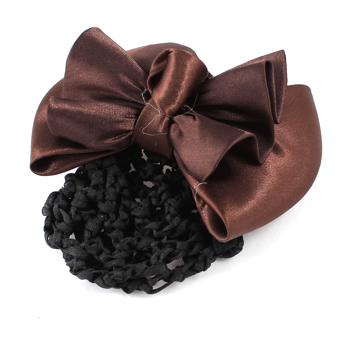 Lady Bowtie Detail Coffee Colour Hair French Clip Barrette Snood Net