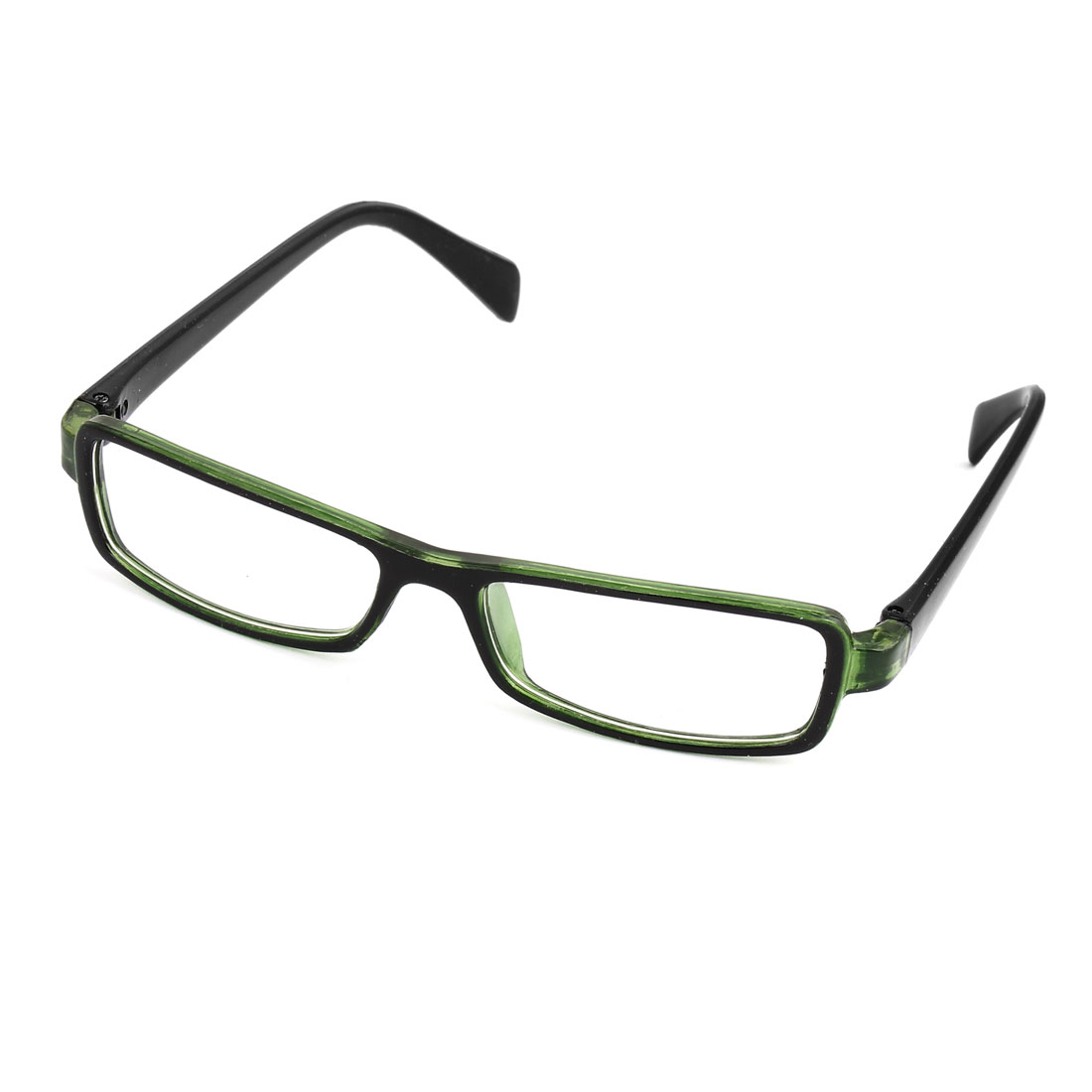 Unisex Plastic Arms Black Green Single Bridge Clear Lens Plain Eyeglasses
