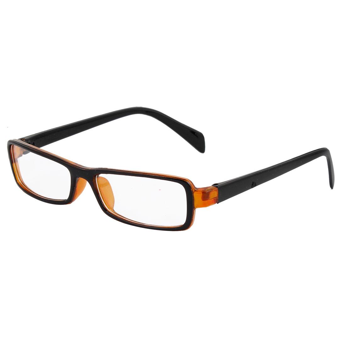 Plastic Arms Full Frame Black Orange Single Bridge Clear Lens Plain Eyeglasses