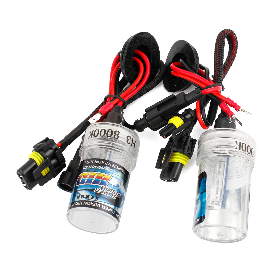 2pcs 8000K White H3 HID Xenon Bulb Lamp Light Headlamp Kit for Automotive Car