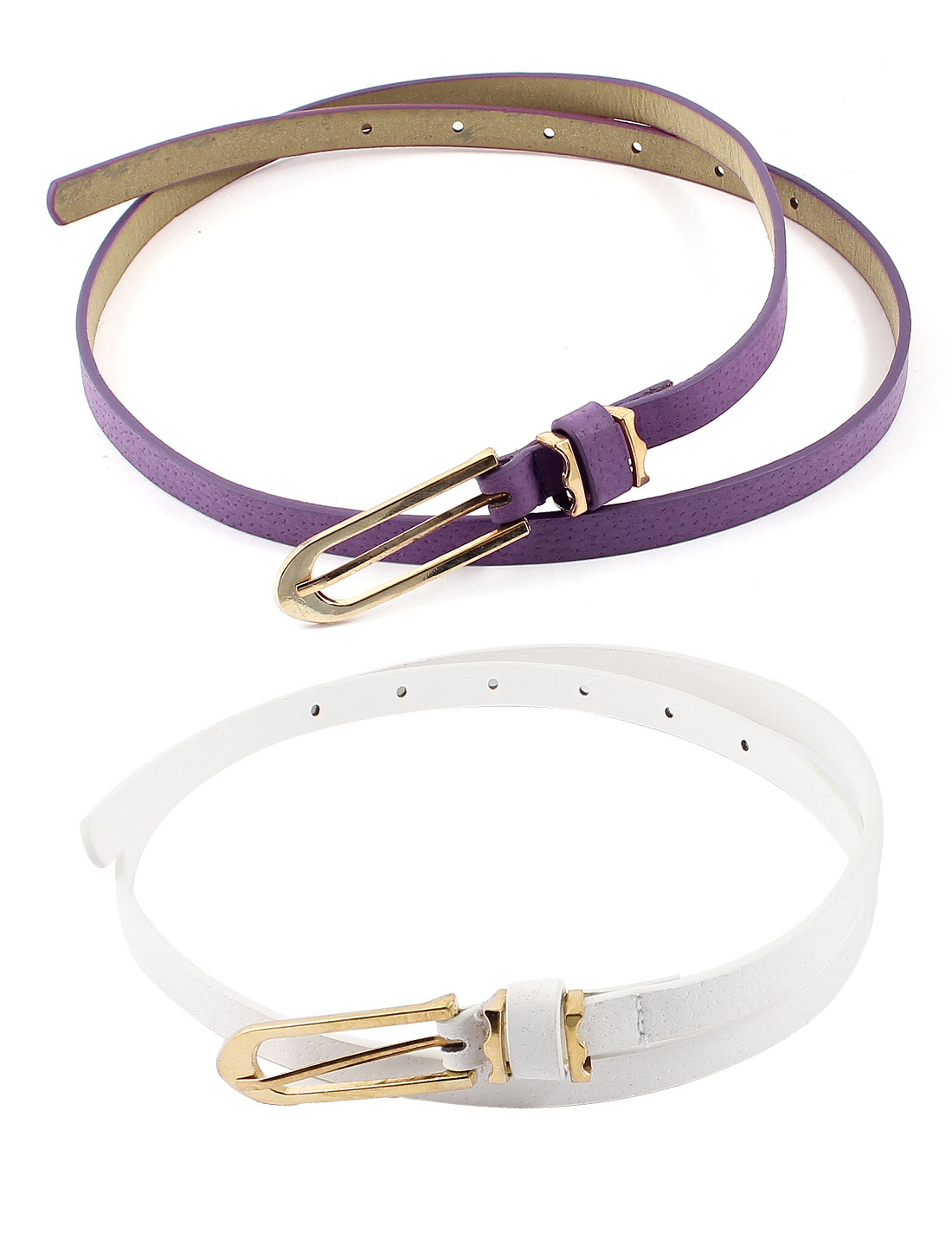 Women Single Pin Buckle Faux Leather Slim Waist Band Belt 2 Pcs Purple White