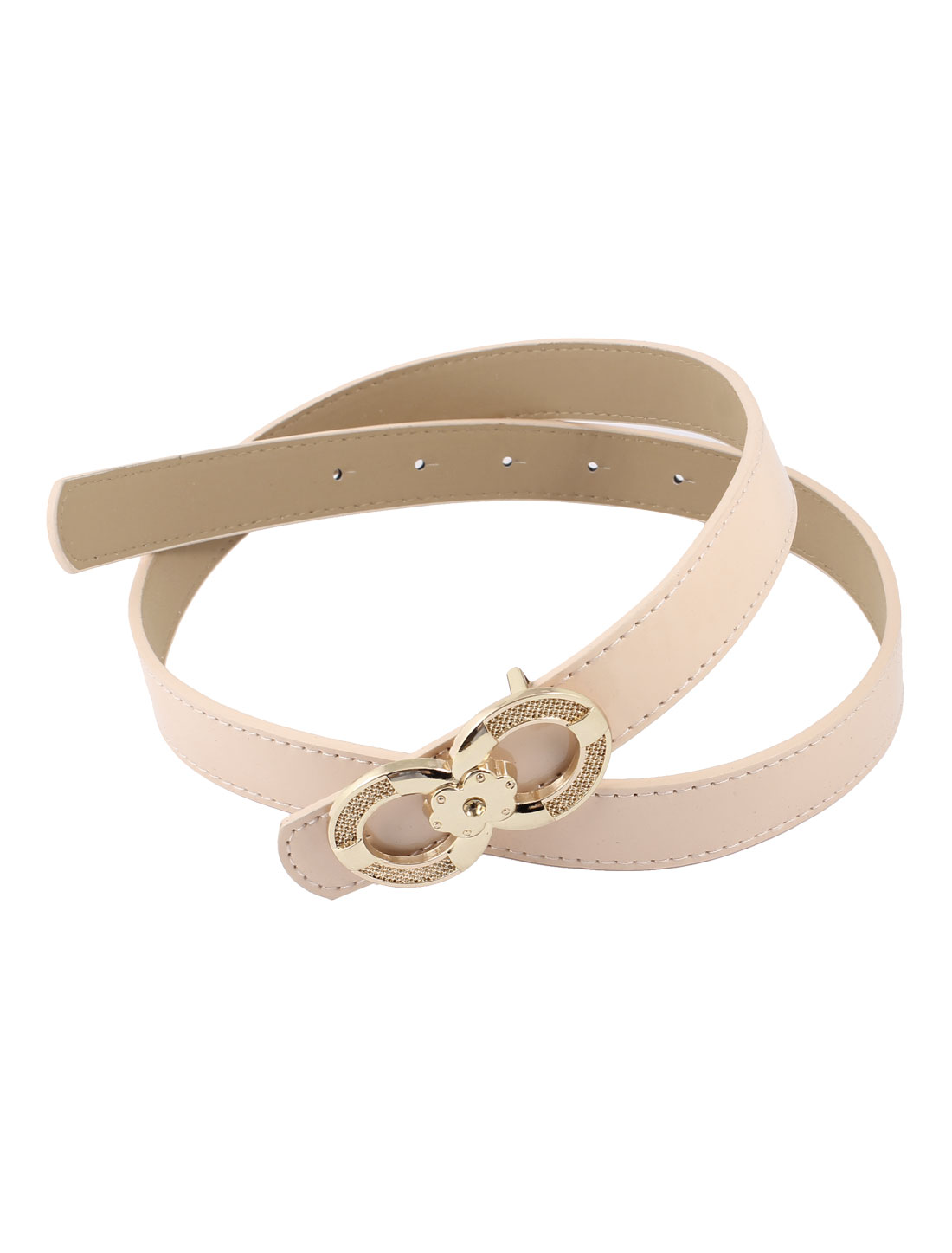 Metal 8 Shaped Buckle Patent Leather Waist Band Belt Pink for Women