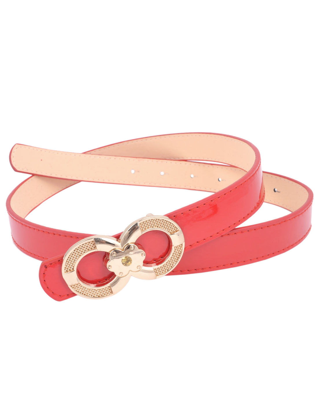 Adjustable 8 Style Press Buckle Red Patent Leather Belt Jeans Decor for Women