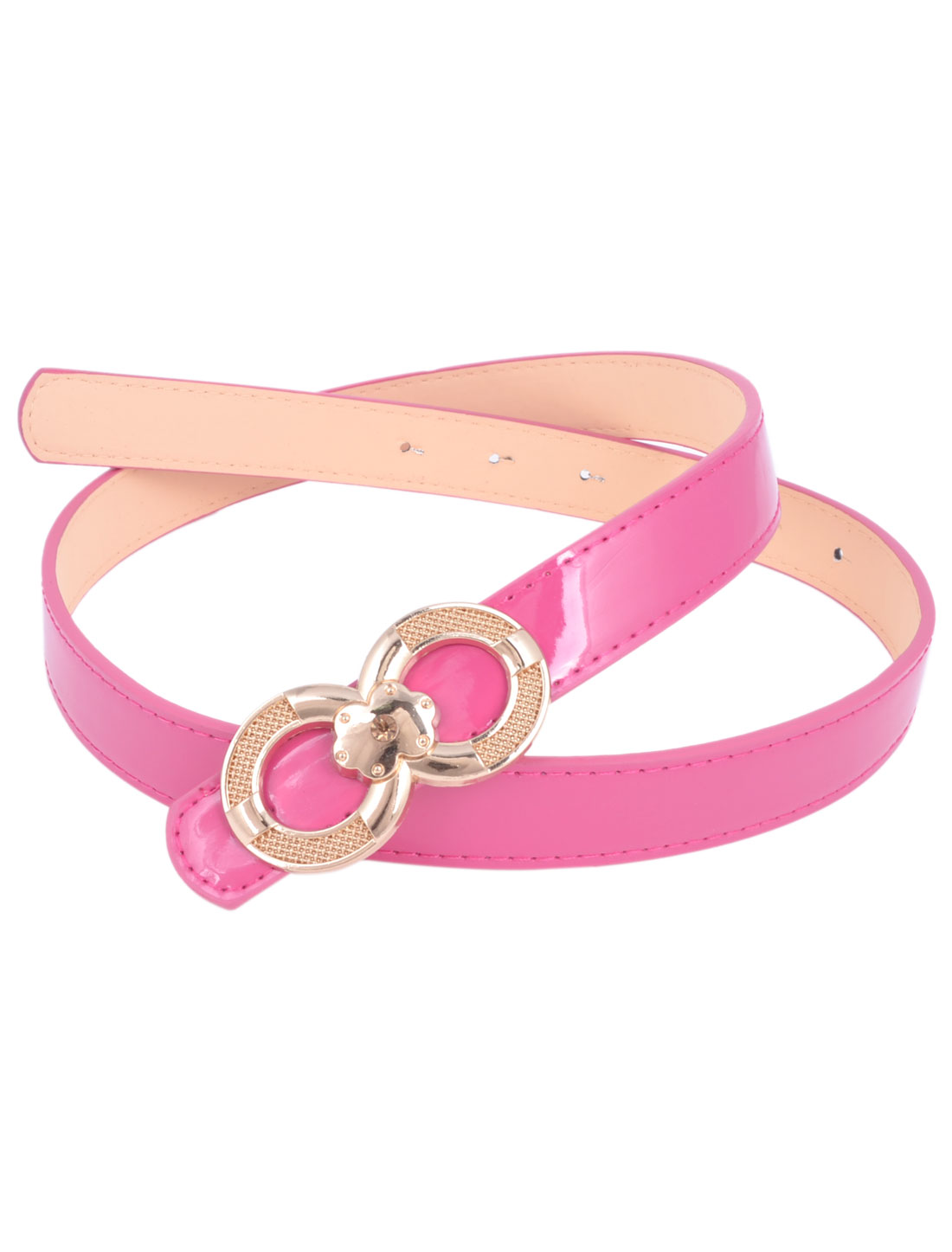 Woman Gold Tone Press Buckle 2.3cm Wide Perforated Patent Leather Belt Fuchsia