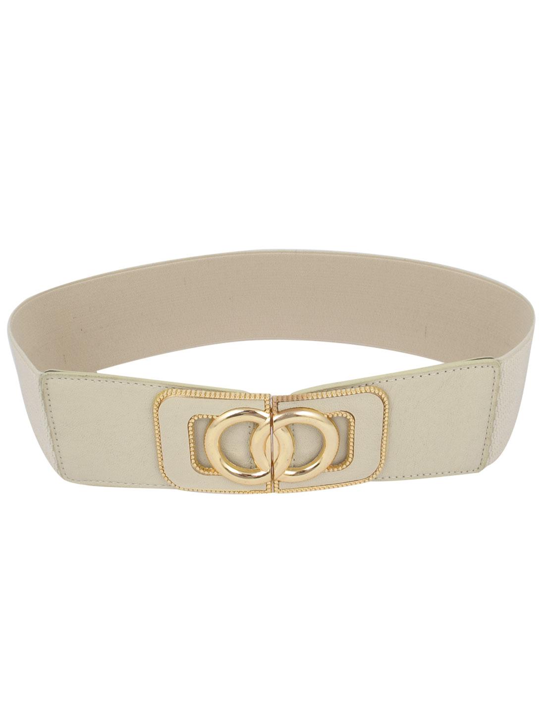 Ladies Metal Mini Beads Detail Gold Tone Interlock Buckle Stretchy Belt Ivory
