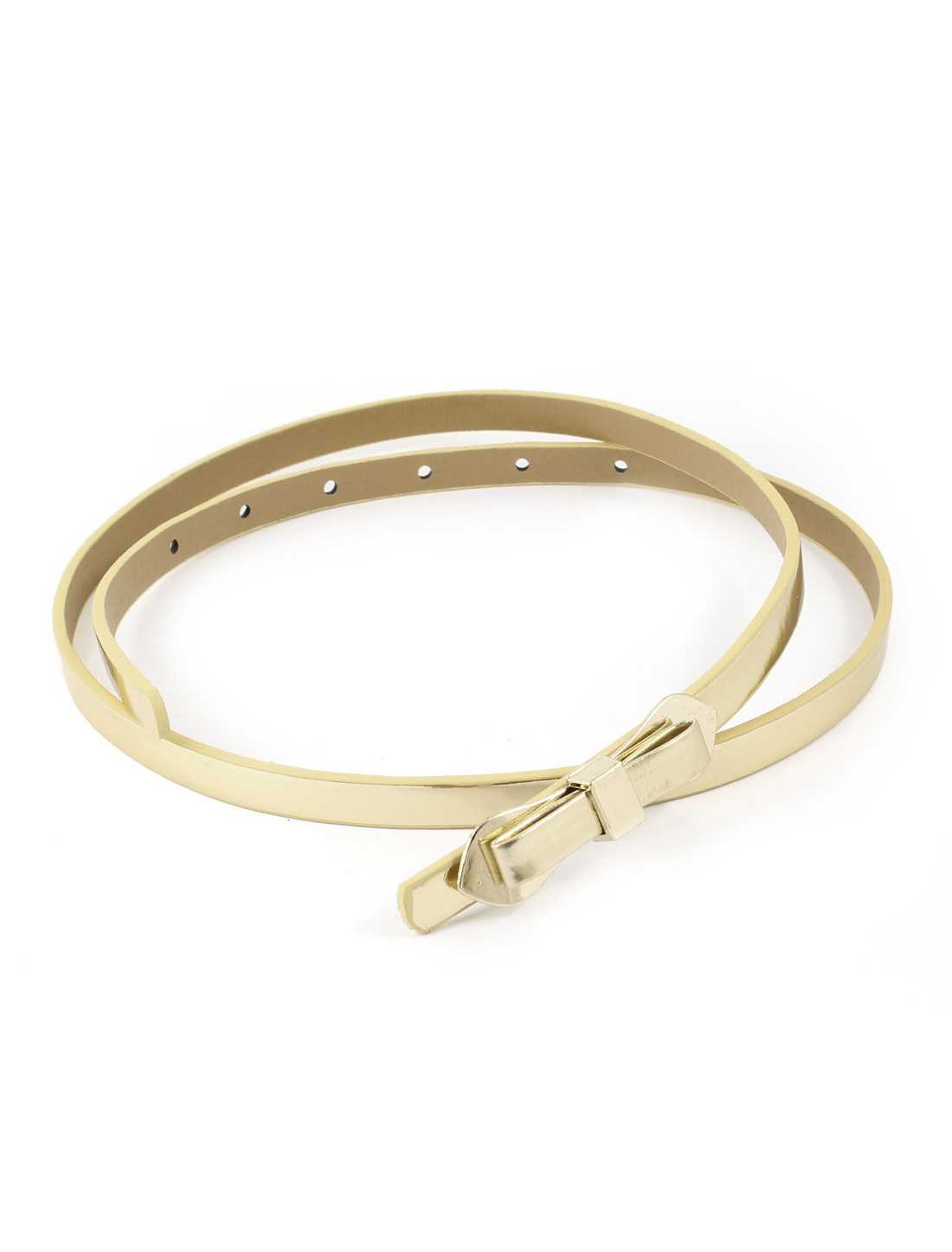 Bowtie Shaped Buckle Patent Leather Slim Waist Band Belt Gold Tone for Women