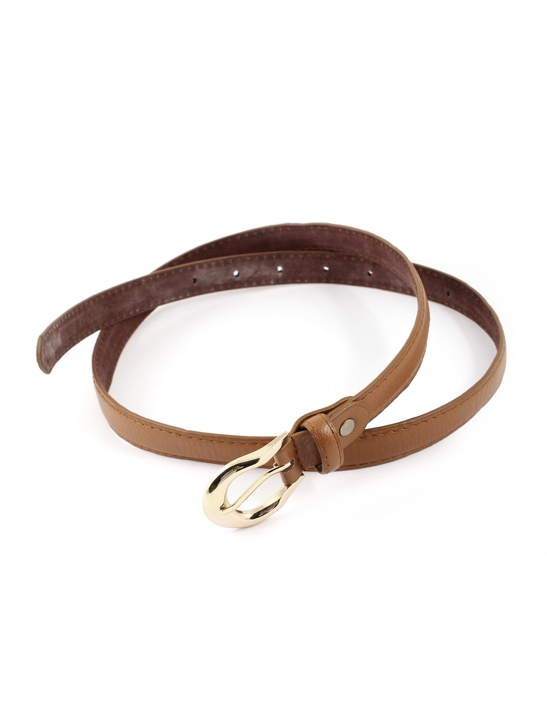 Women Single Pin Buckle Faux Leather Waist Band Belt Camel Color