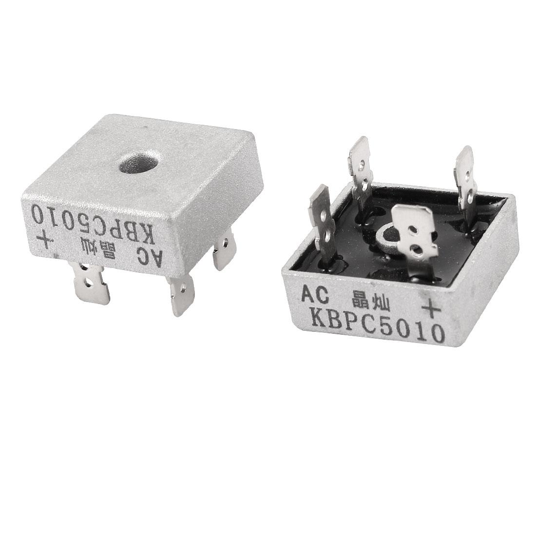 2 Pieces Metal Case KBPC5010 1000V 50A Single Phase Bridge Rectifier
