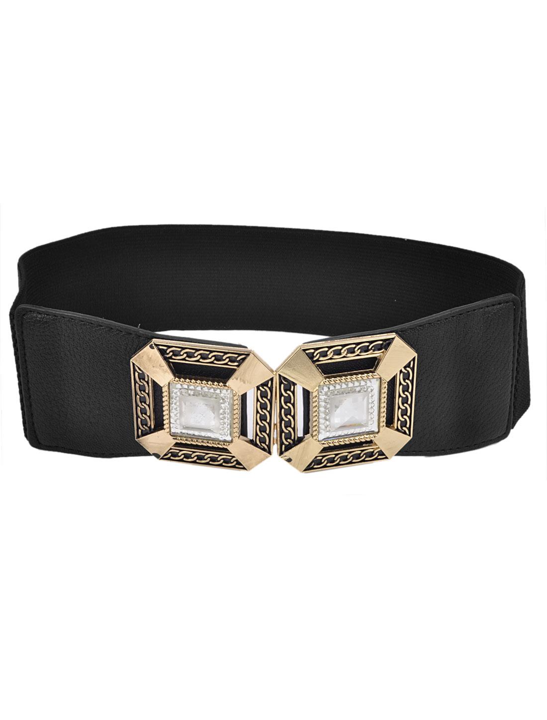 Women Square Crystals Inlaid Hook Buckle 6cm Width Stretch Cinch Belt Black
