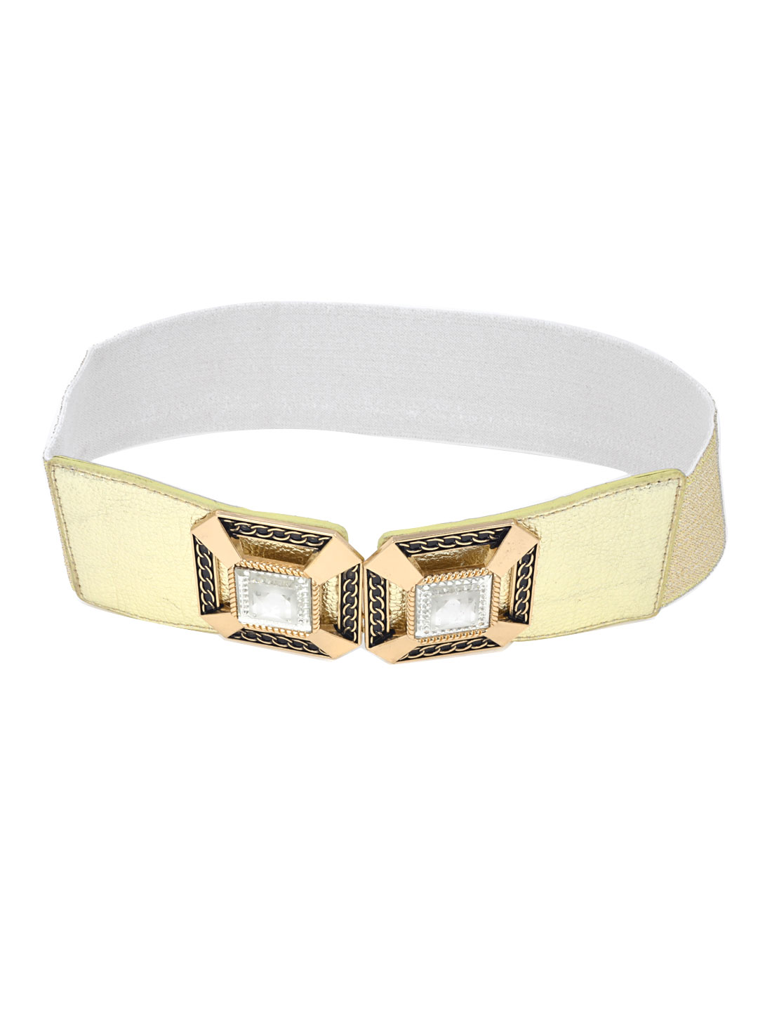 Women Square Crystals Inlaid Hook Buckle 6cm Width Stretch Cinch Belt Gold Tone