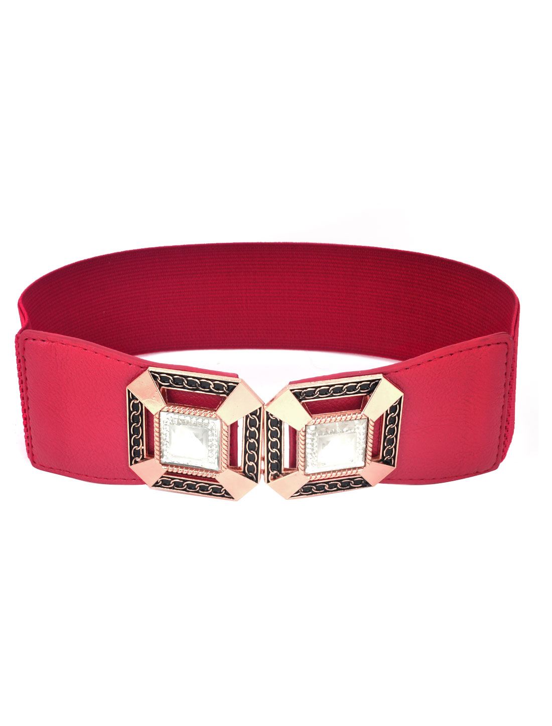 Woman Red Faux Leather Buckle Part Textured Elastic Cinch Belt Skirt Decor