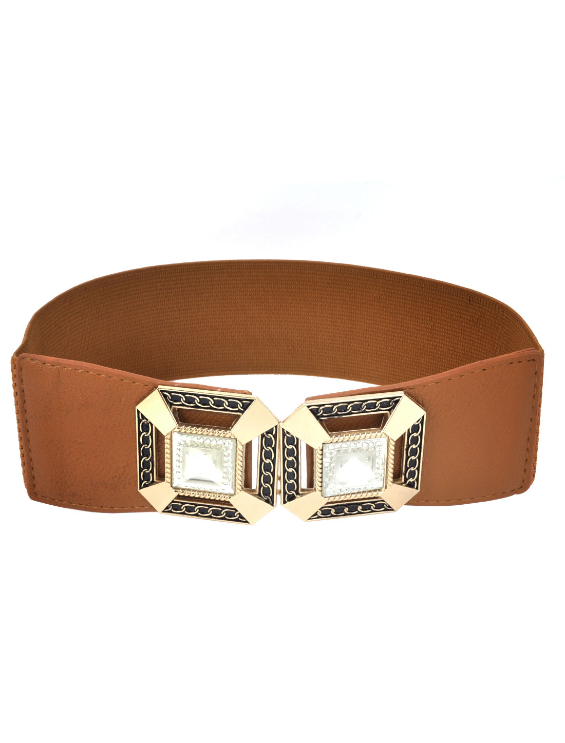 Gold Tone Metal Square Hook Buckle Stretchy Waistband Belt Brown for Ladies