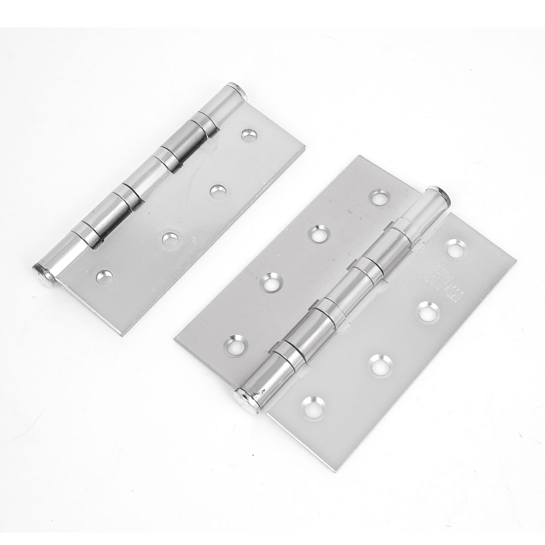 2 Pcs Cupboard Cabinet 5mm Dia Mounted Stainless Steel Folding Door Hinge