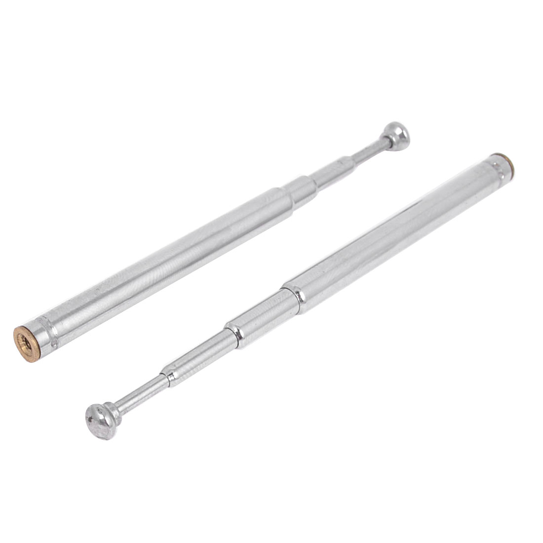 "2 Pcs Replacement 4 Sections FM Radio TV Rod Telescopic Antenna Aerial 5.7"" Long"