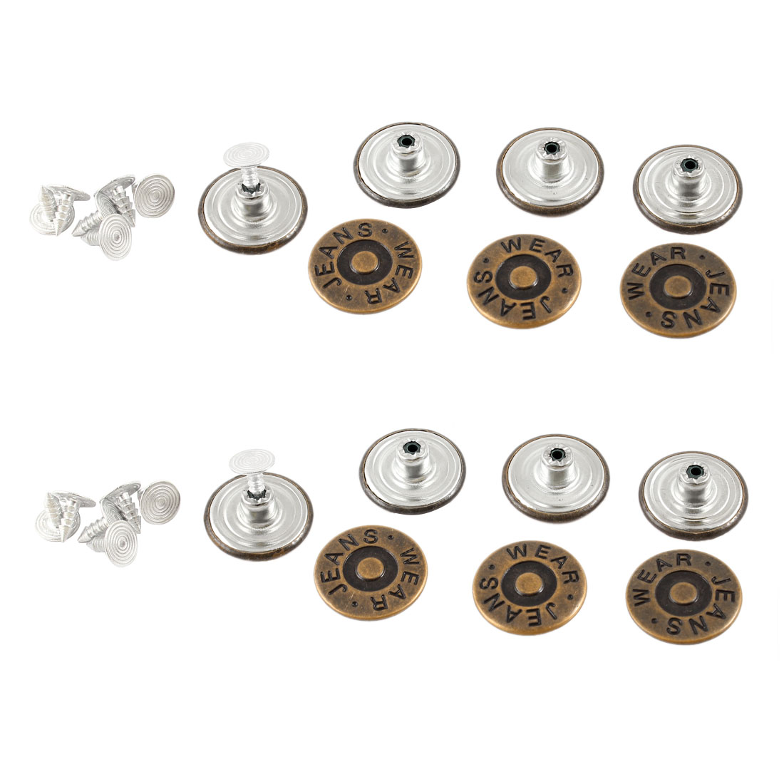 Letters Carved Trousers Sew Tack Buttons Copper Tone 14PCS for Tailors