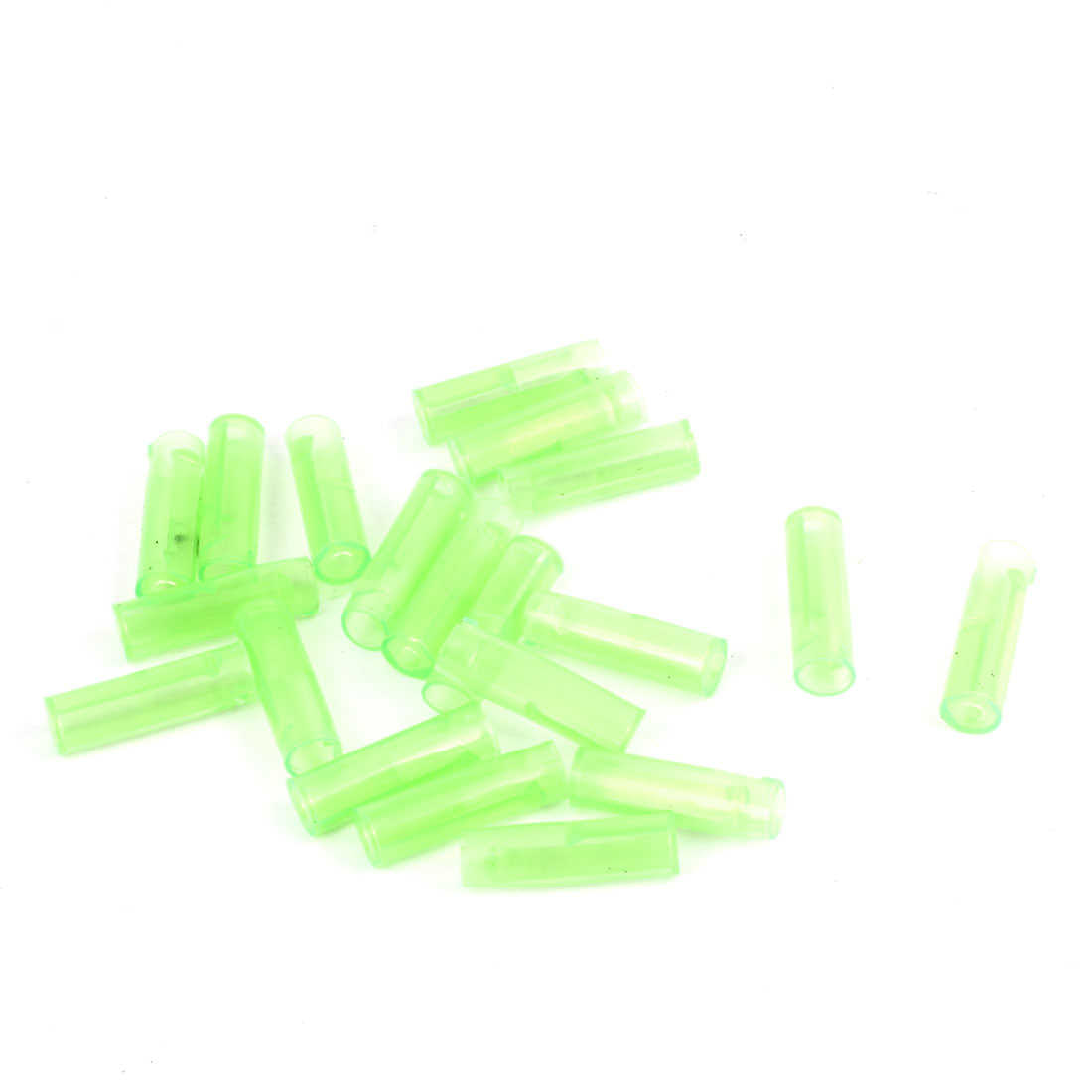 20 Pcs Green 6mm Dia 23mm Long PVC Crimp Terminal Cover Sleeves for Motorcycle