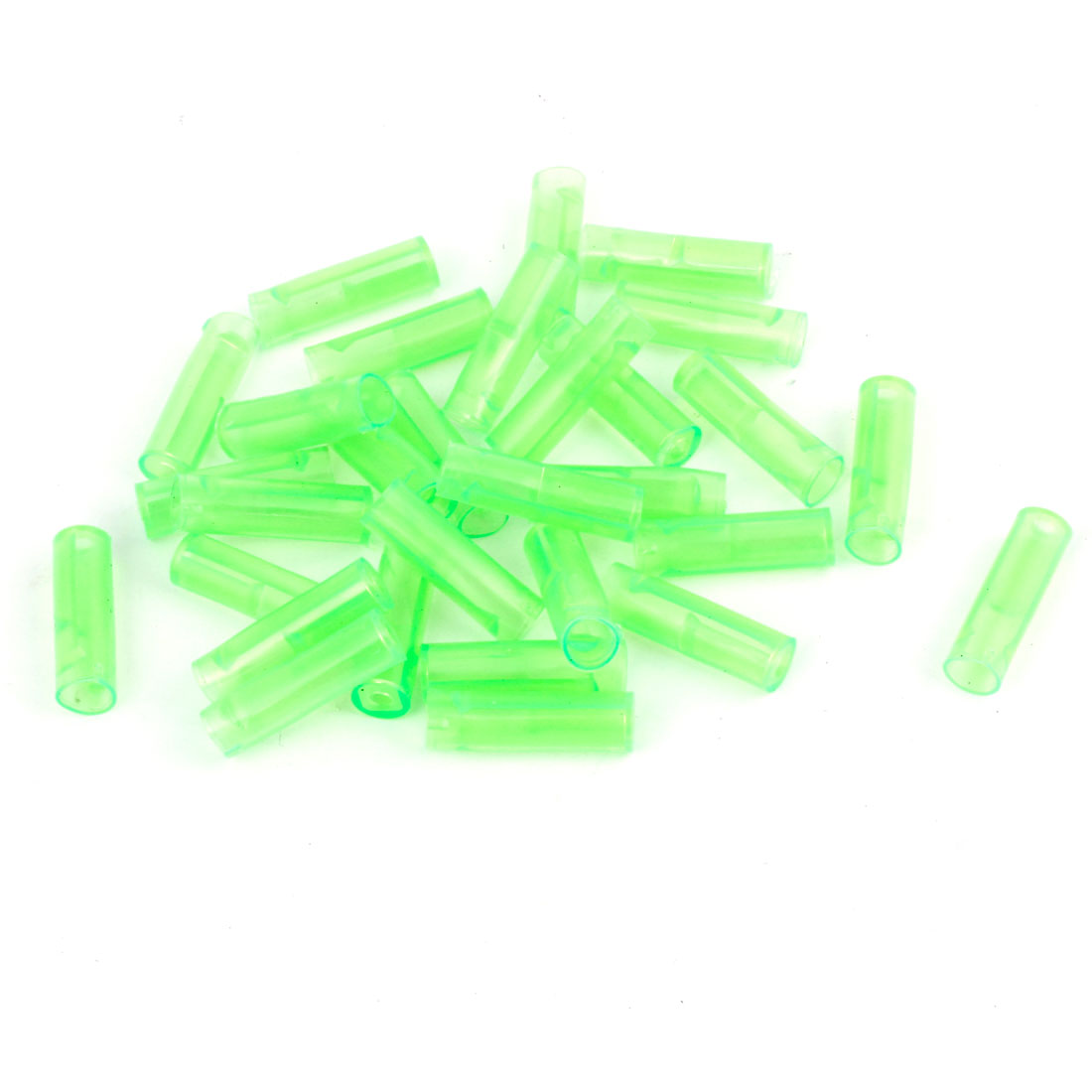 30 Pcs Motorcycle Green PVC Crimp Terminal Cover Sleeves 23mm x 6mm