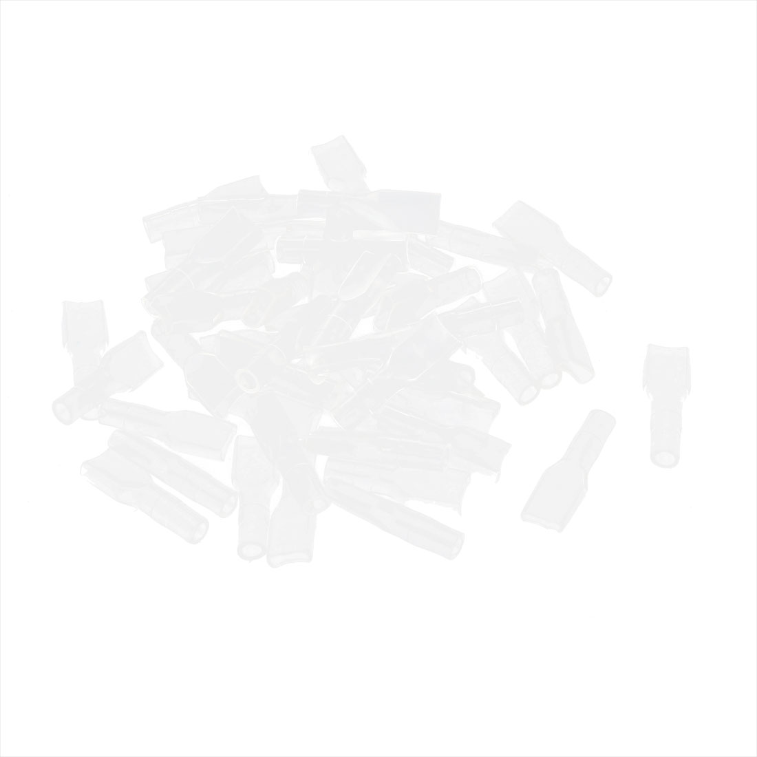 50 Pcs Car Clear 4.8mm PVC Crimp Terminal End Insulated Cover Sleeves