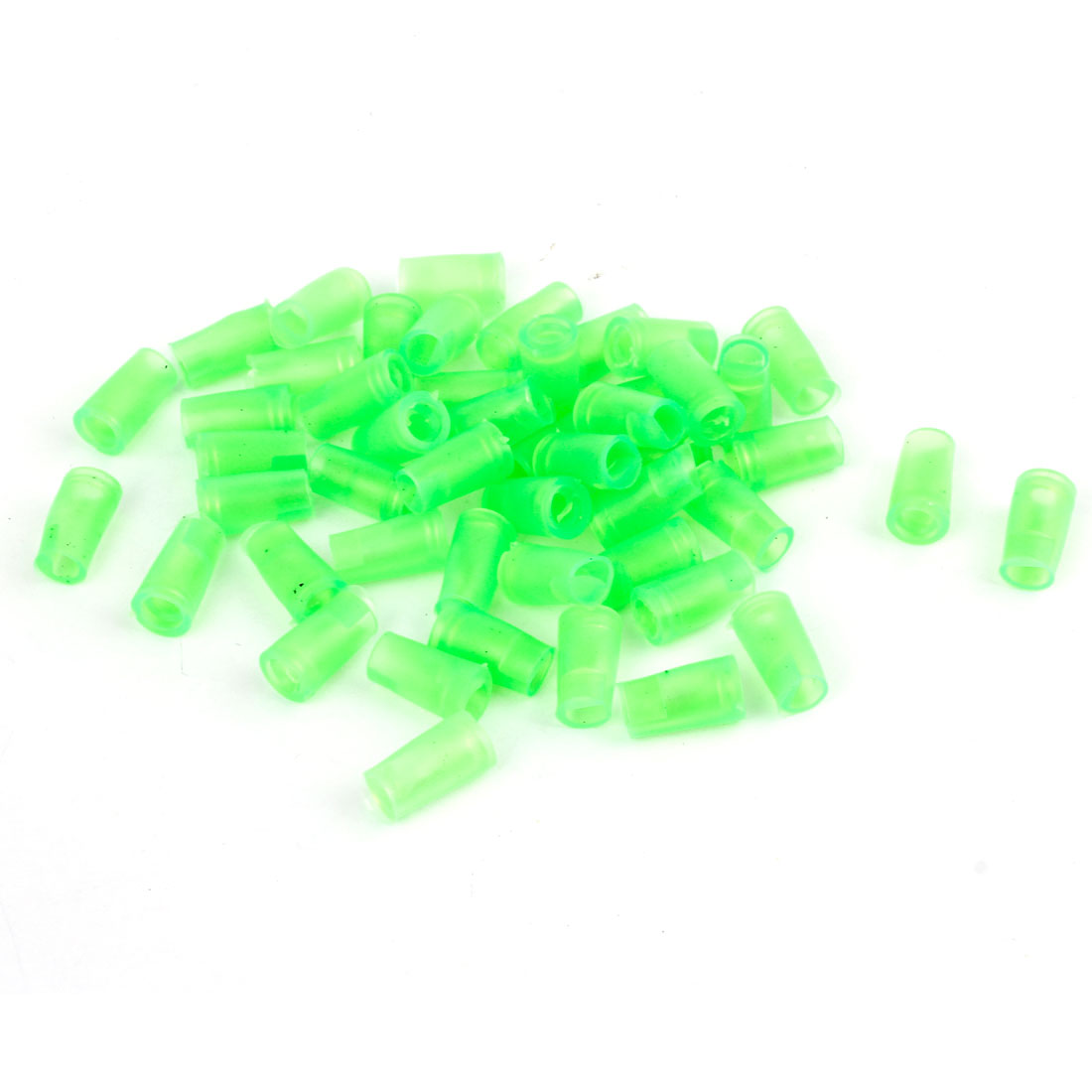 50 Pcs Green 6mm Dia PVC Crimp Terminal Cover Sleeves 10mm Long for Motorcycle