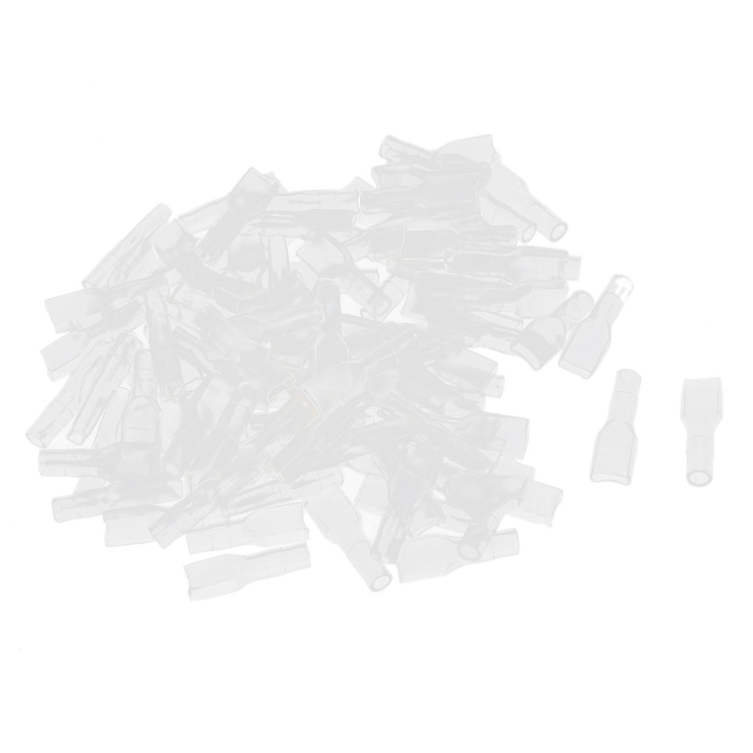 100 Pcs 4.8mm Clear Soft PVC Insulated Ring Terminal Caps Boots Covers Sleeves