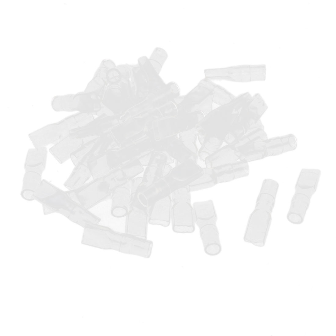 50 Pcs 4.8mm Clear PVC Double Female Insulated Ring Terminal Caps Boots Covers Sleeves