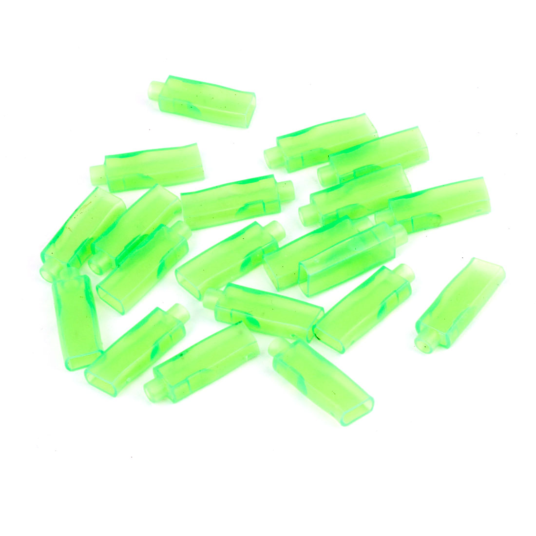 20 Pcs Car Green PVC Connectors 6.3mm Double Female Terminal Sleeves