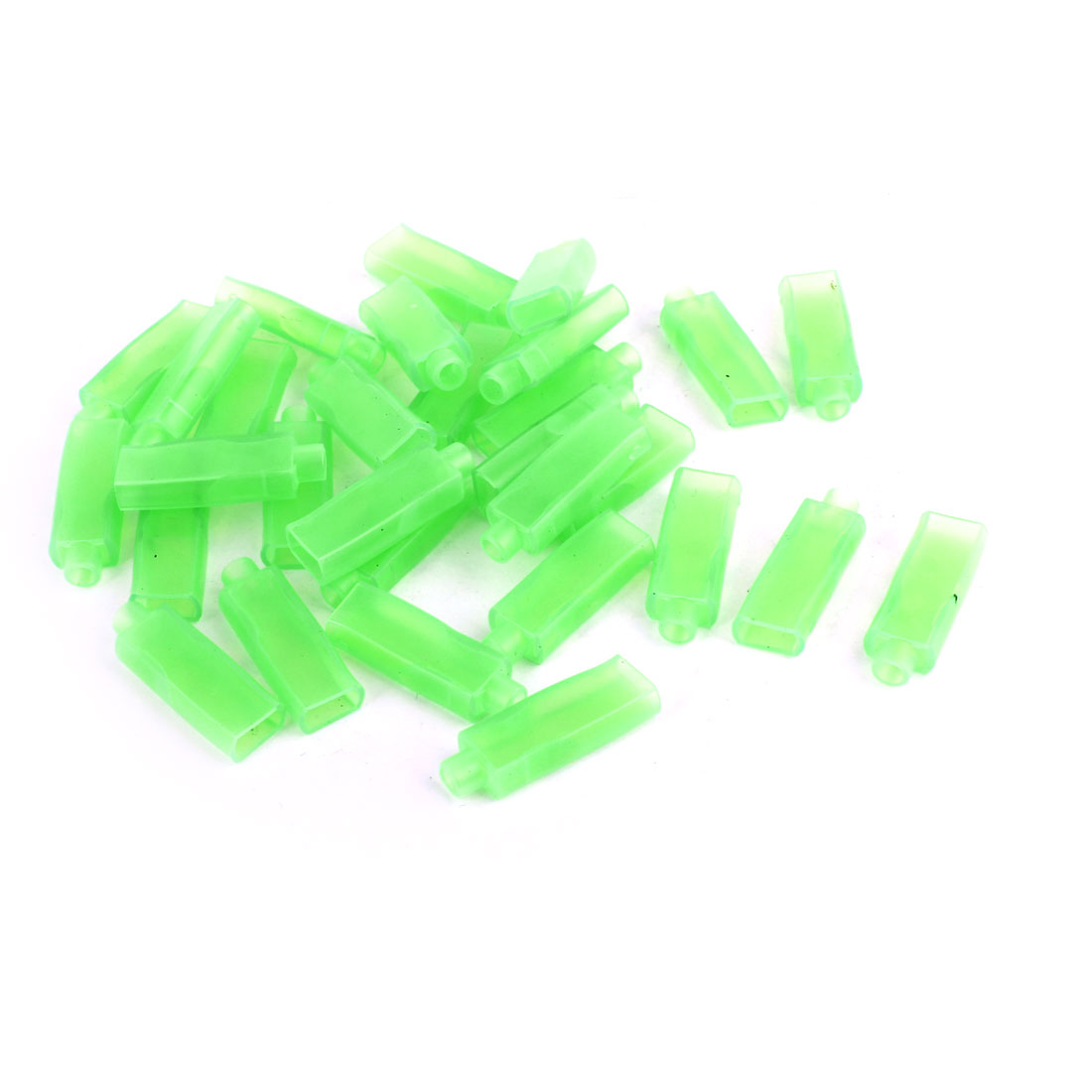 30 Pcs Auto Green Soft PVC Connectors 6.3mm Double Female Terminal Sleeves