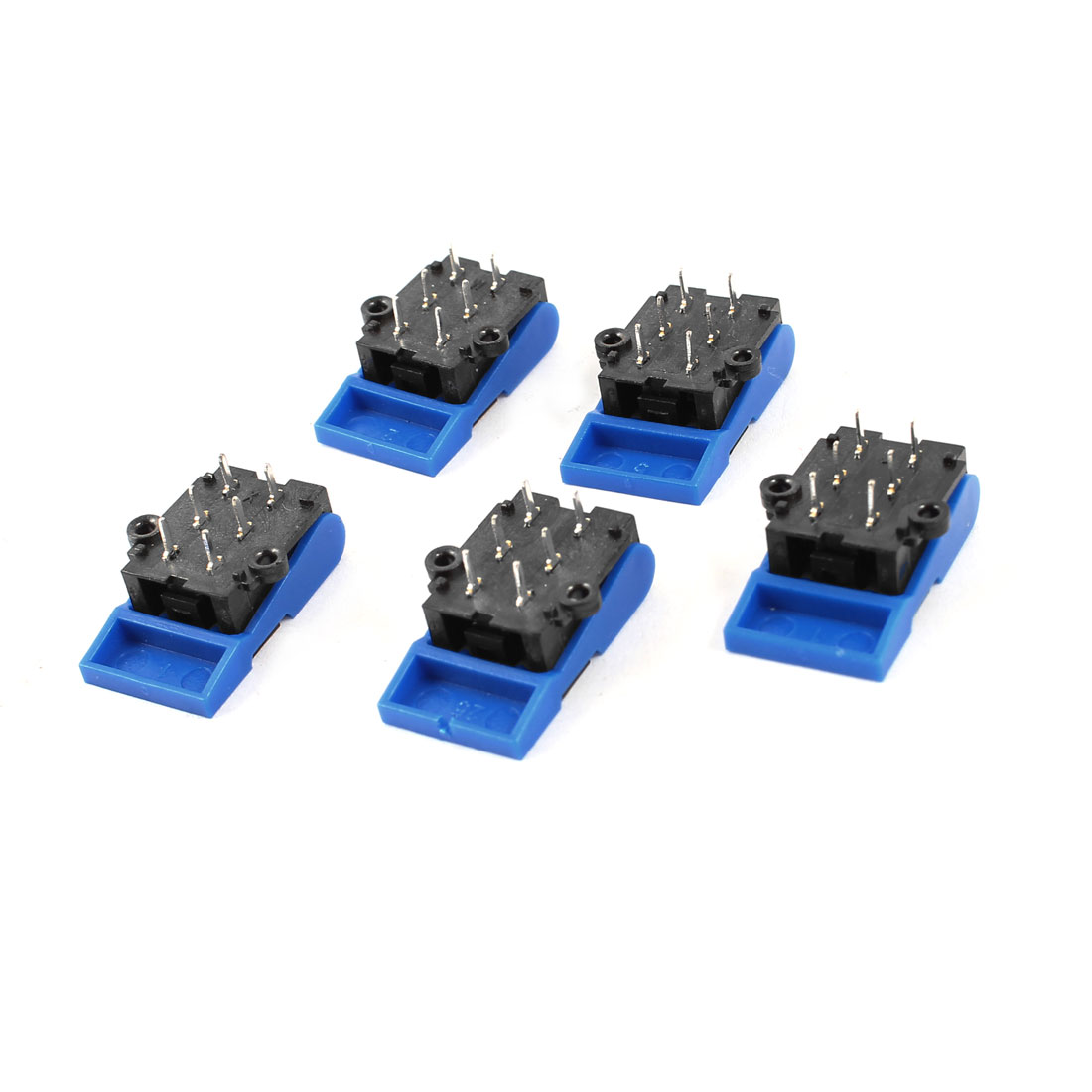 5 Pcs 6-Pin PCB Mount Plastic Hook Switch Black Blue for Telephone