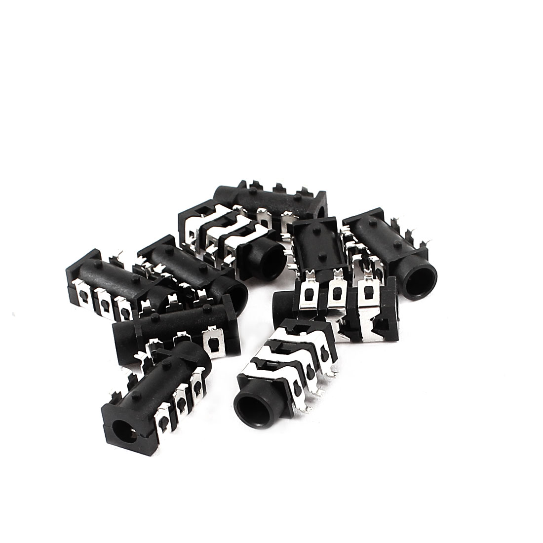 10 Pcs 3.5mm 6 Pins SMT PCB Panel Mounting Headphone Jack Socket Black