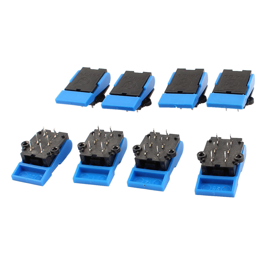 8pcs 6 Pin Terminal PCB Mounting Telephone Hook Switch Black Blue