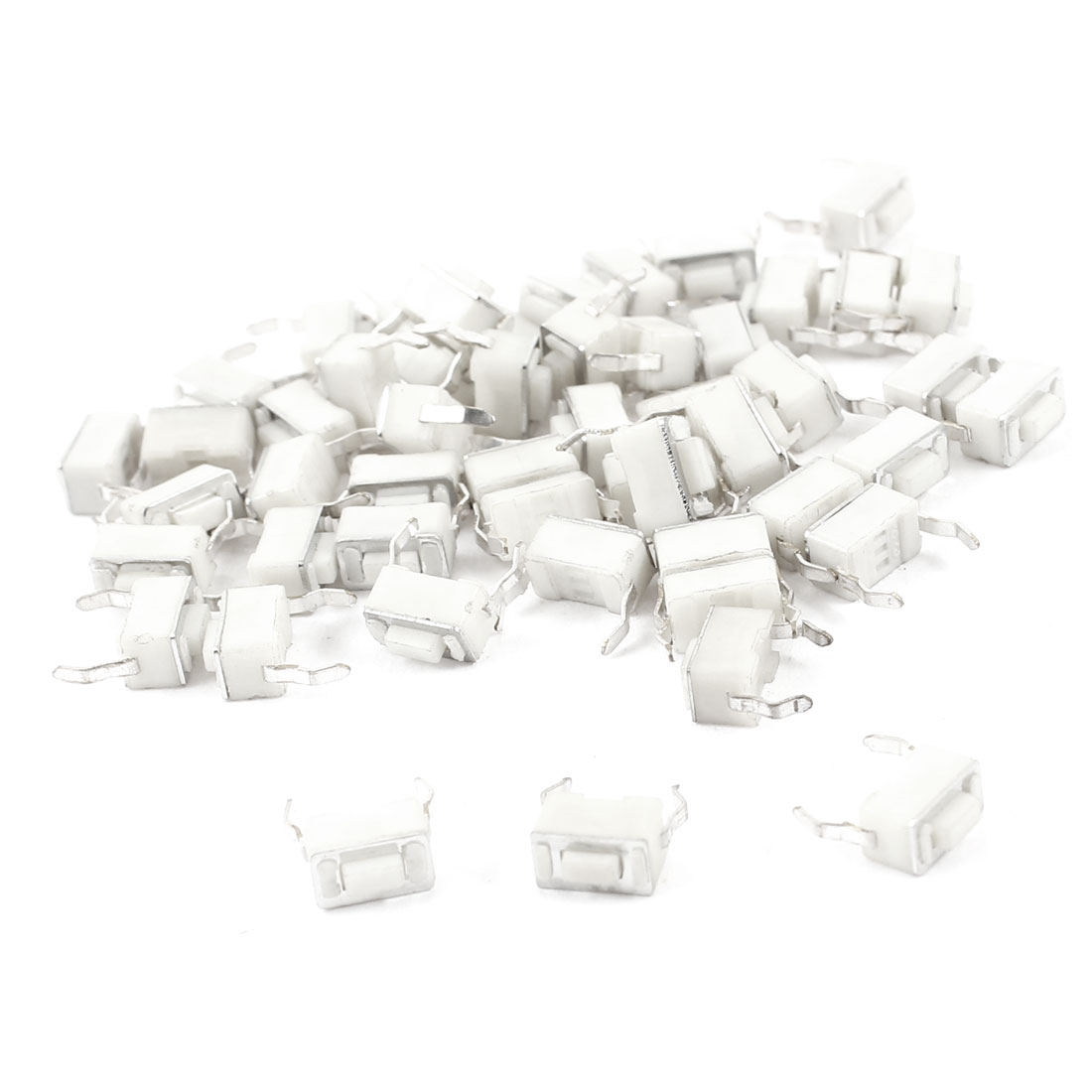 50pcs Momentary PCB Paeel Mount Rectangle Push Button SPST Tactile Tact Switch White 6mmx3mmx4.3mm