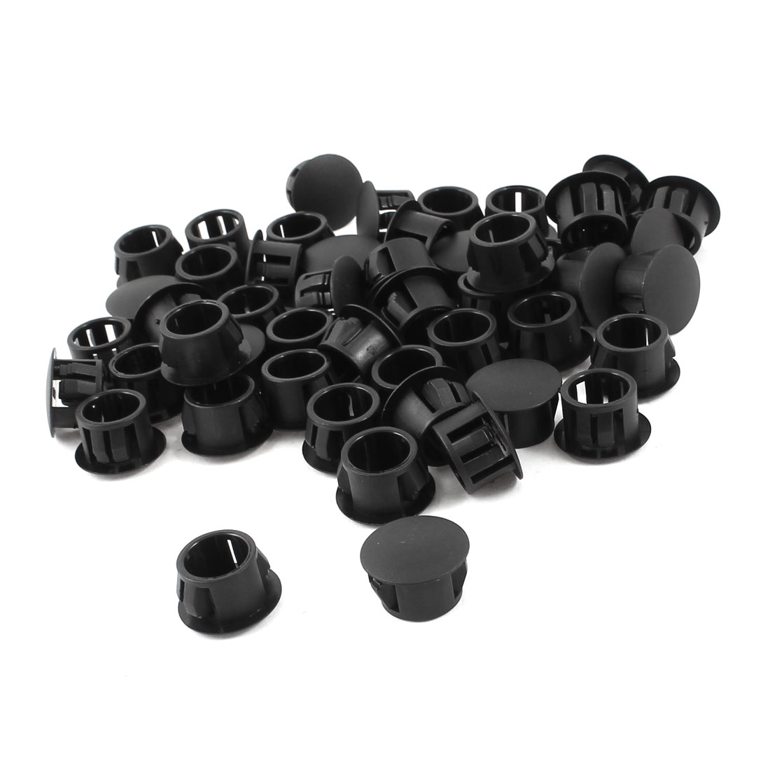 50pcs Black Plastic 13mm Diameter Snap in Type Locking Hole Button Cover 13mm x 16.5mm x 10mm