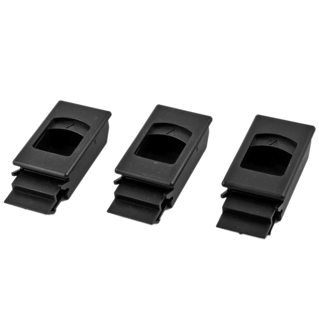 3 Pcs Plastic Inside Pull Triangle Mark Latch Black for Cabinet