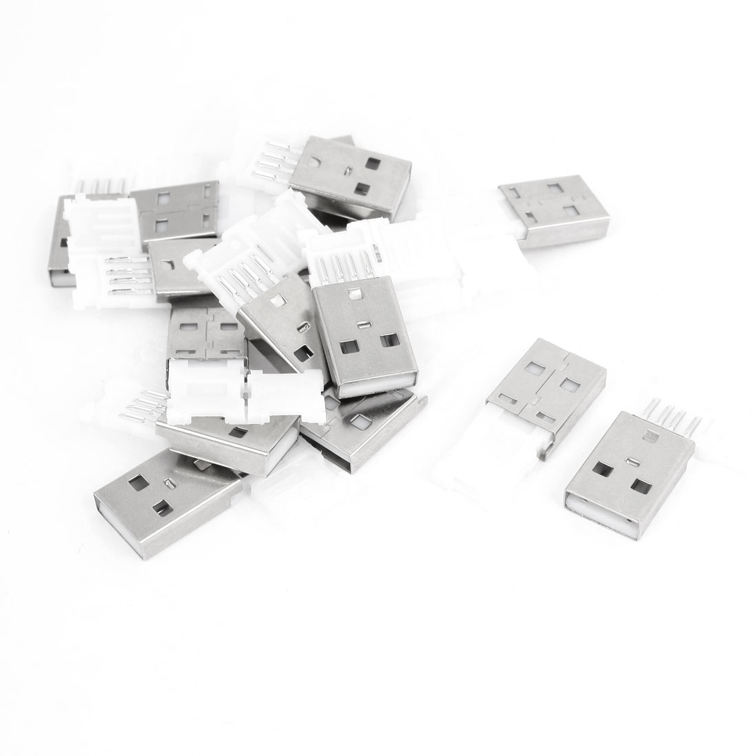 15 Pieces USB 2.0 Type A Male Jack Socket Connector Silver Tone White