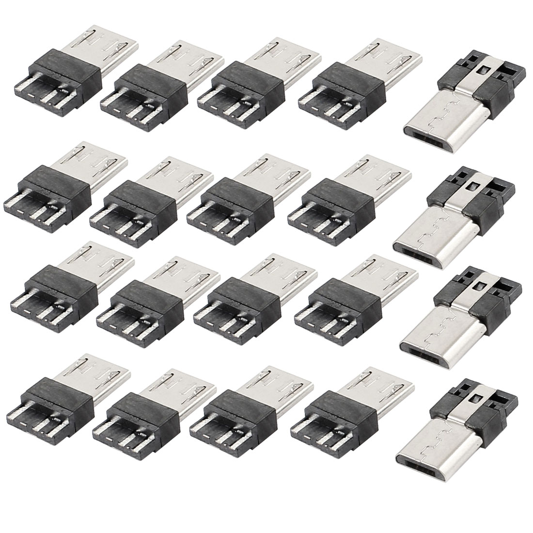 20 Pieces Micro USB B Type 5-Pin Male Solder Jack Plug Connectors