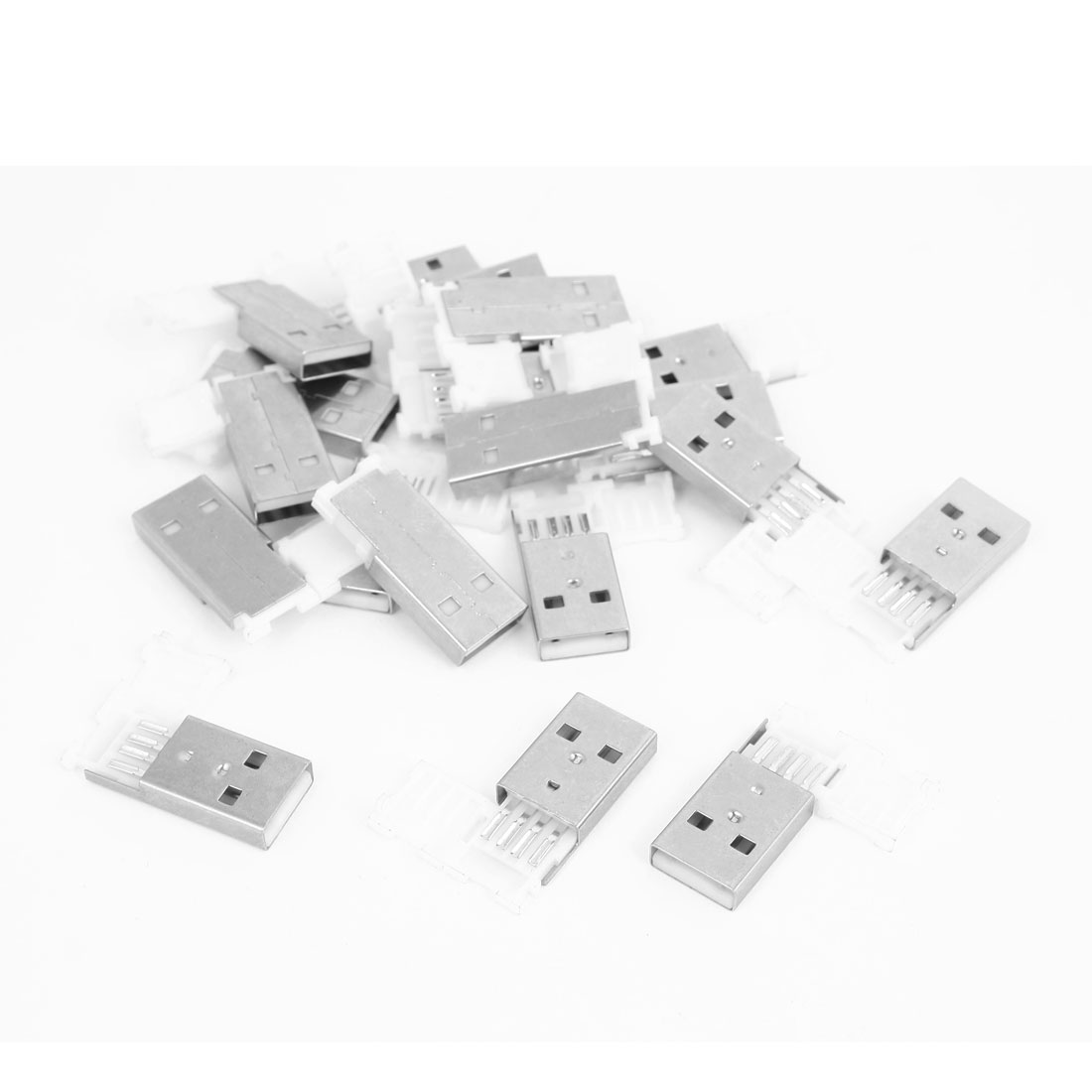 20 Pcs USB 2.0 Type A Male Jack Socket Cable Connector Silver Tone White