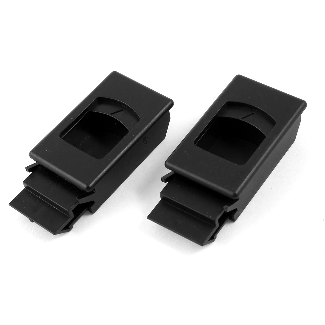 2 Pcs Plastic Inside Pull Rectangular Latch Black for Cabinet