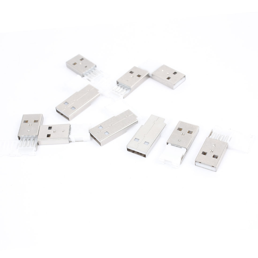 Silver Tone White USB 2.0 Type A Male Port Socket Cable Jack 10pcs