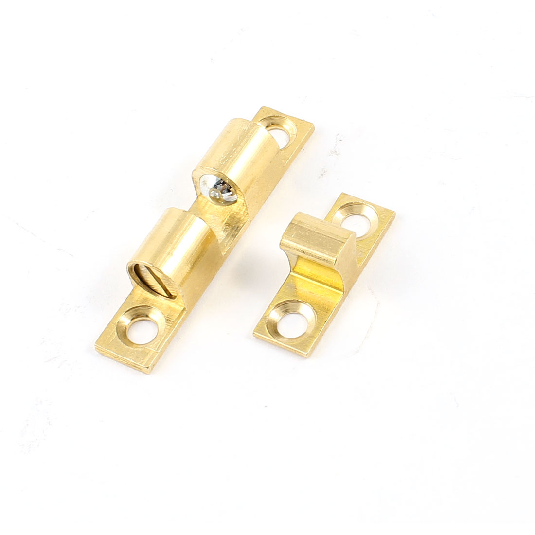 Cupboard Cabinet Door Gold Tone Double Ball Catch 3.5mm Hole Dia
