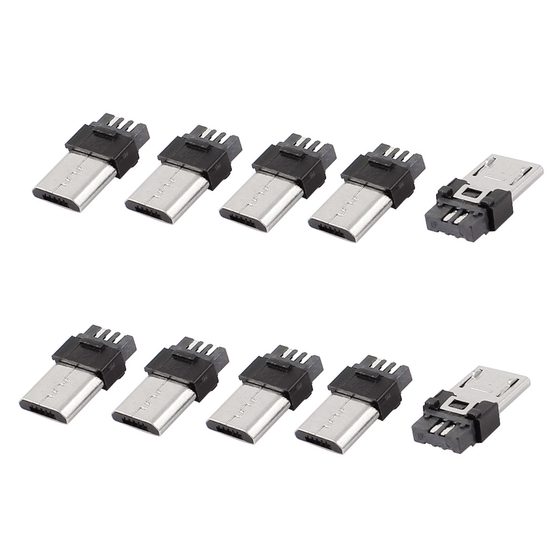 10 Pieces Micro USB B Type 5 Pin Male Solder Jack Connector Sockets