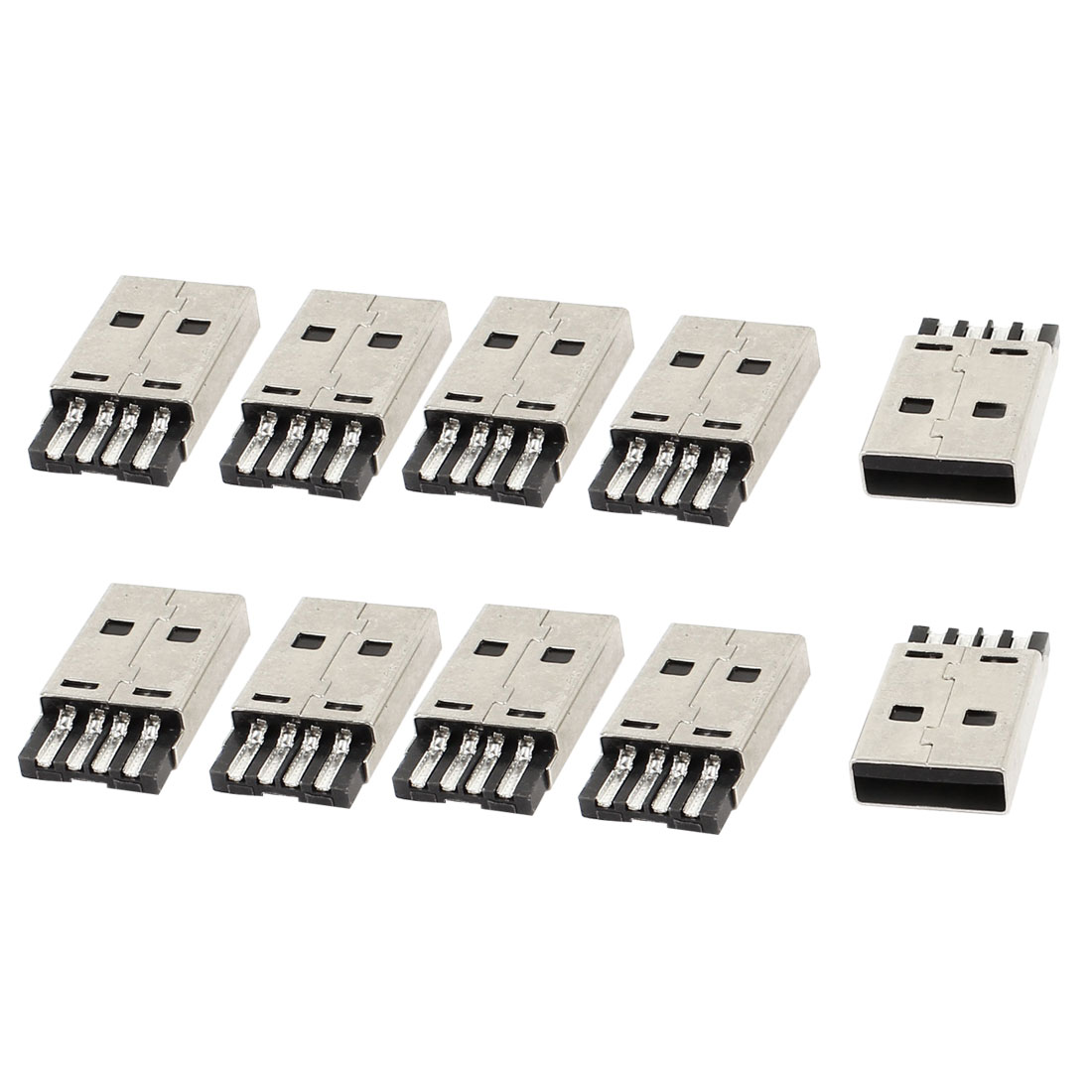 10 Pcs USB2.0 A Male 4 Pin Jack PCB Mounting Solder Connectors
