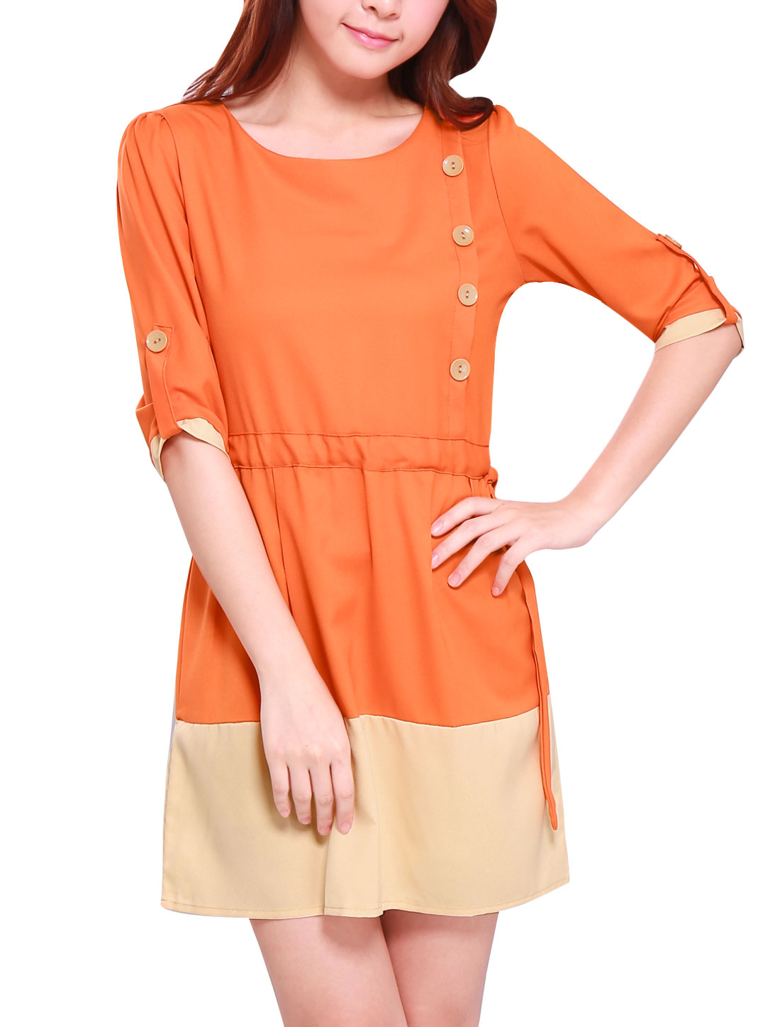 Women Fashion Roll Up Cuffs Drawstring Waist A Line Dress Orange S