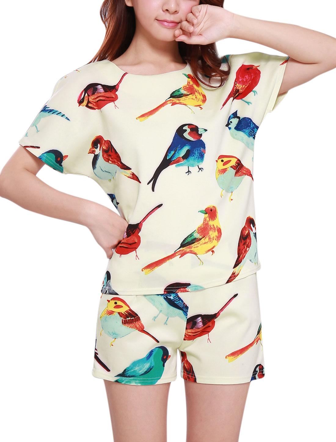 Women Batwing Design Top w Birds Pattern Shorts Beige XS