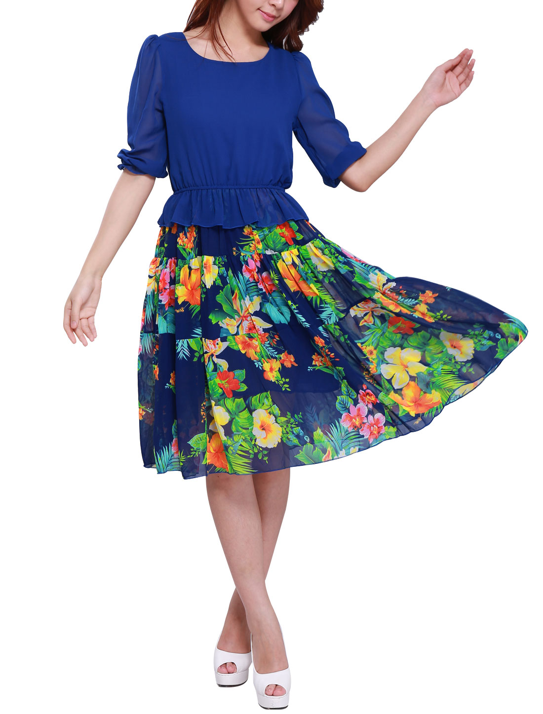 Lady 3/4 Sleeve Elastic Waist Floral Prints NEW Dress Royal Blue XS
