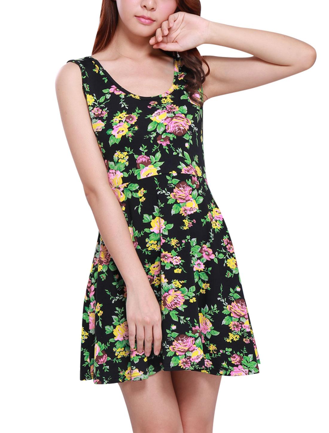 Lady U Neck Sleeveless Floral Prints Elastic Sexy Skater Dress Black Green S