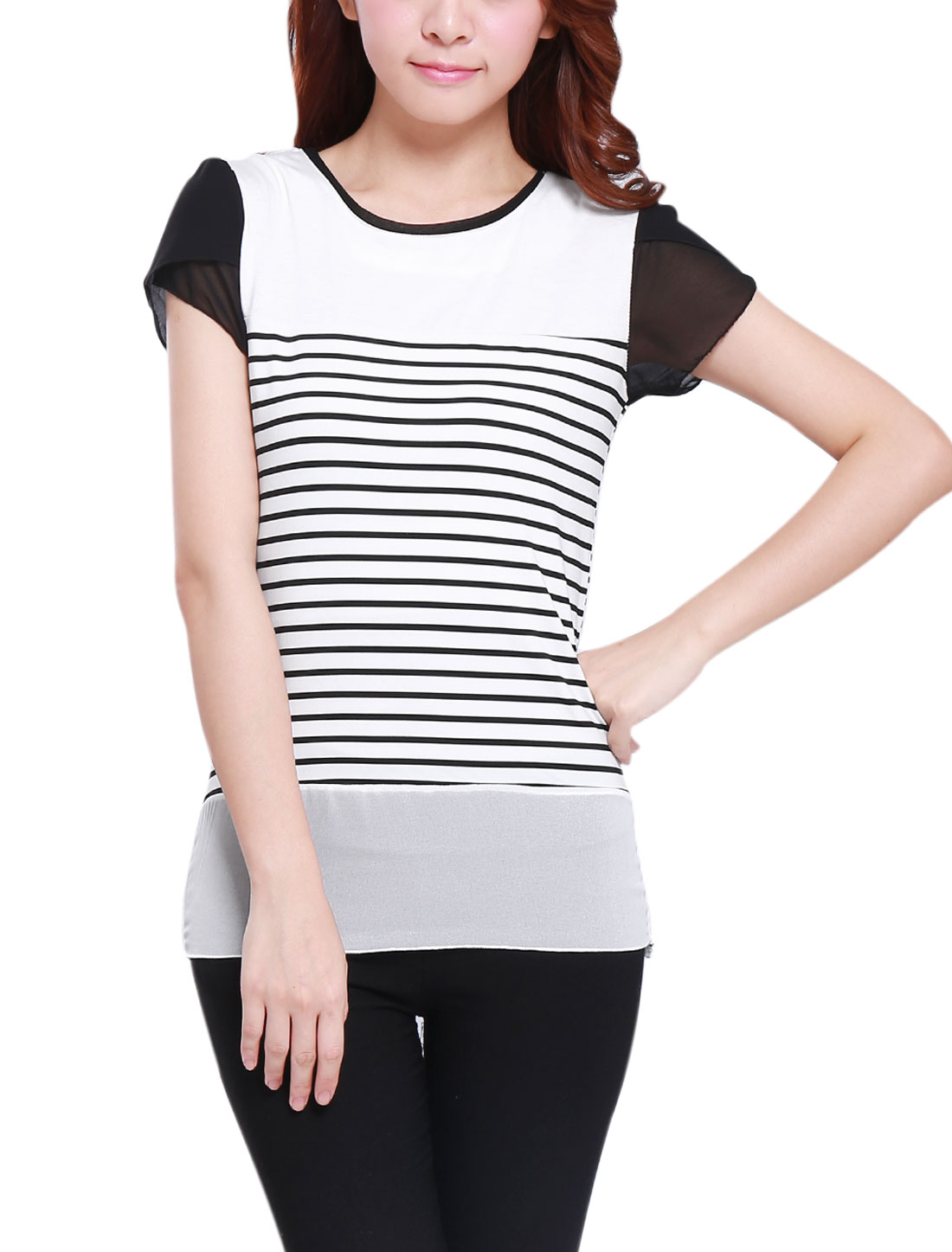 Lady Round Neck Patal Sleeve Stripes Chiffon Panel Tee White Black XS