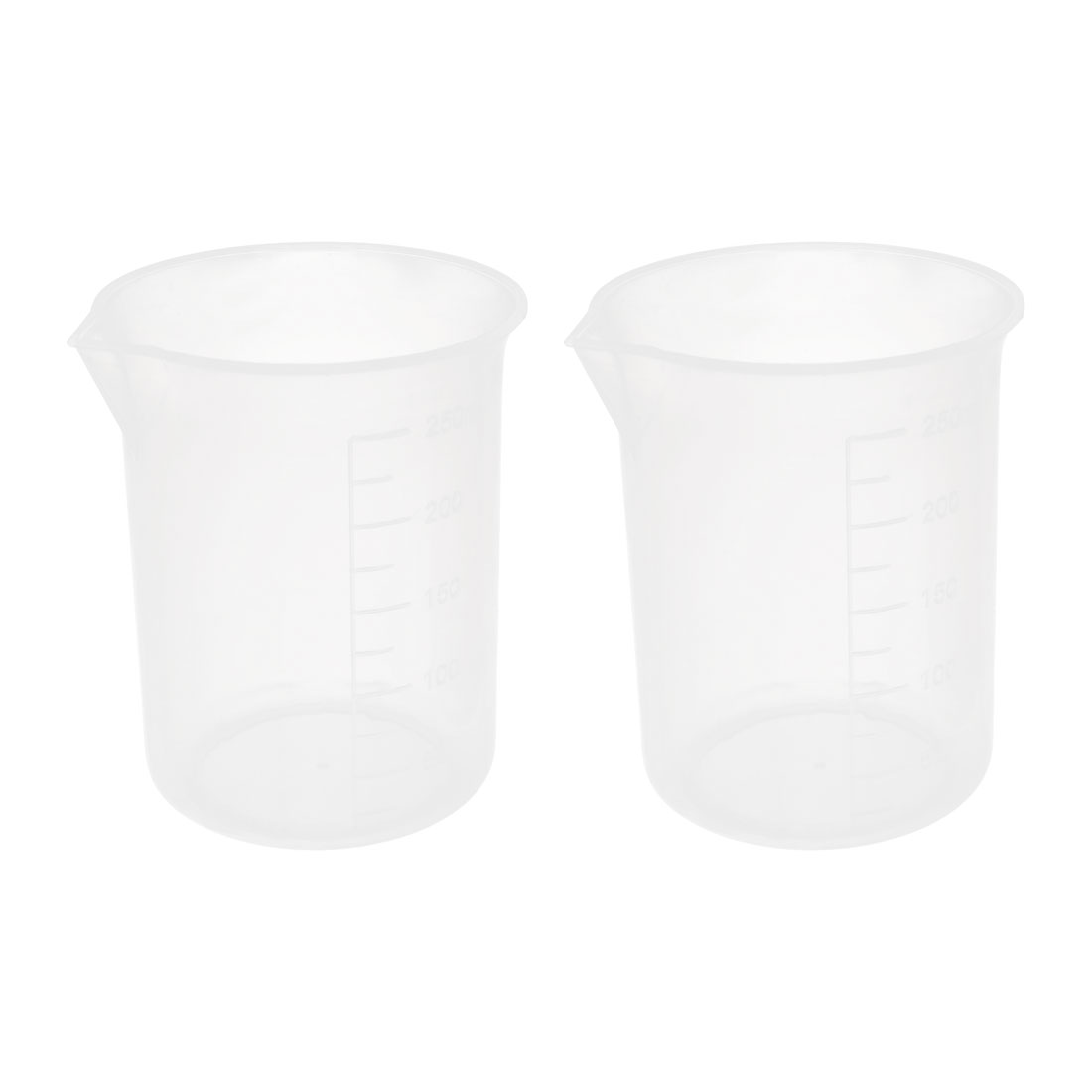 Home Clear White Plastic Ingredients Water Sauce Measuring Beaker 2pcs 250ml