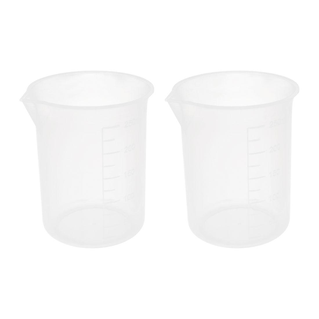 Home Clear White Plastic Ingredients Water Sauce Measuring Beaker 2pcs 250ml