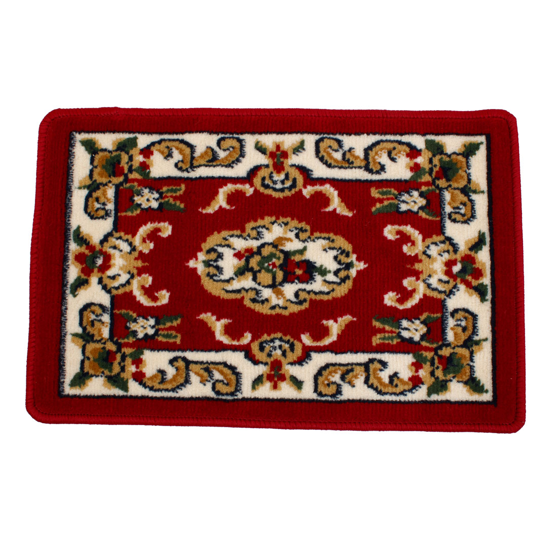 Burgundy Flower Pattern Bedroom Floor Mat Table Area Rug Carpet 60cm x 40cm